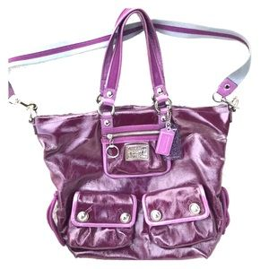 Coach Poppy Plum Patent Leather XL Spotlight